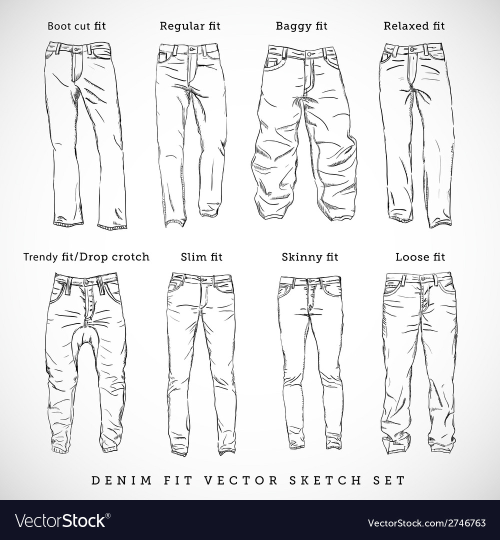 Denim Fit Hand Drawn Sketch Set vector image