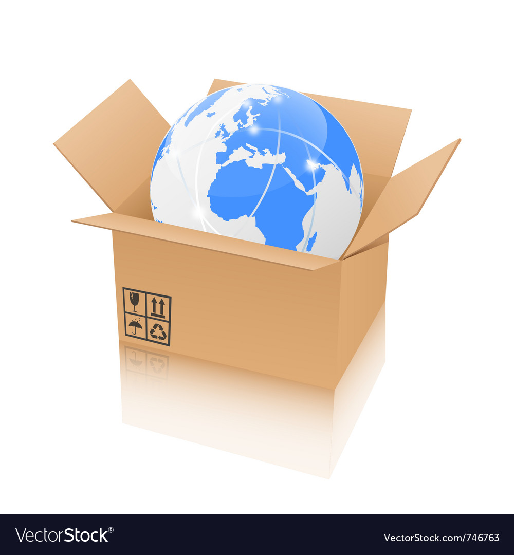 Earth in an open cardboard box vector image