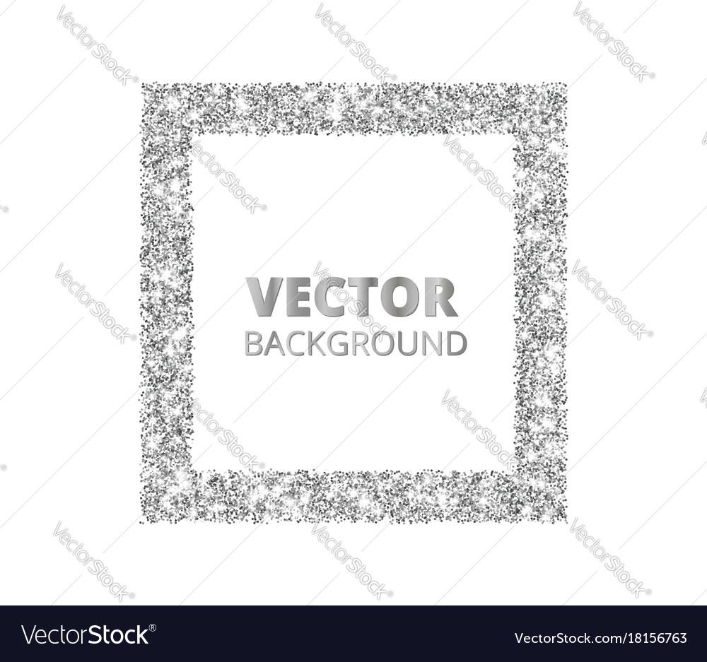 Festive silver sparkle background glitter border vector image