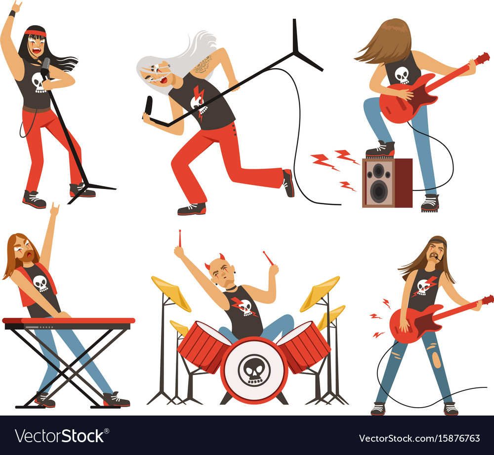 Funny cartoon characters in rock band musician in