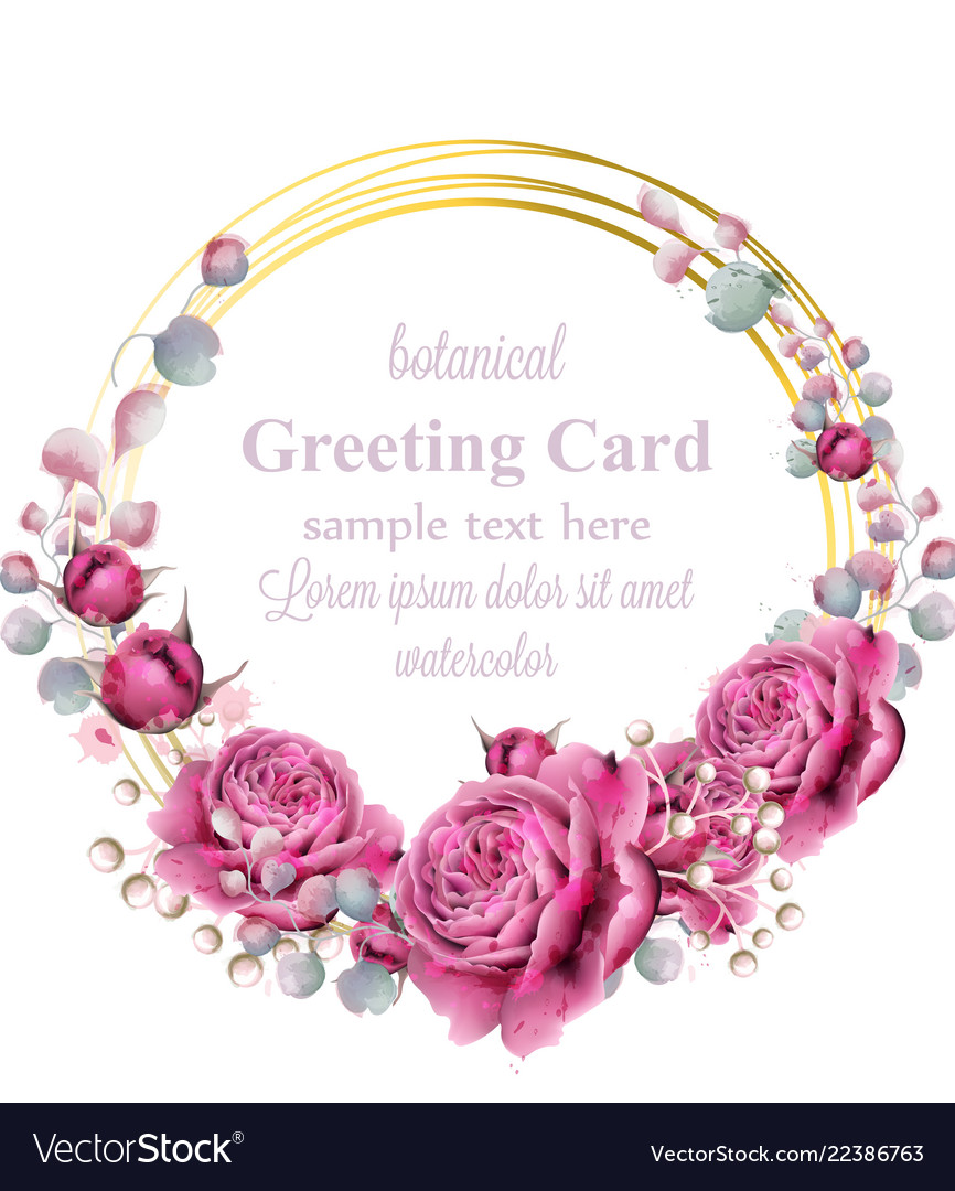 Gold card frame with rose flowers watercolor
