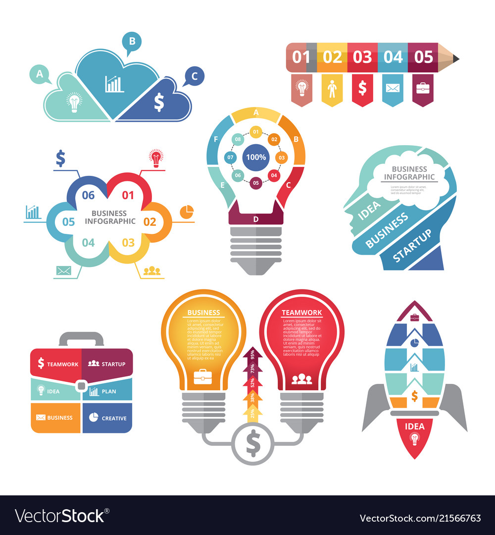 Infographics concepts with various shapes bulb