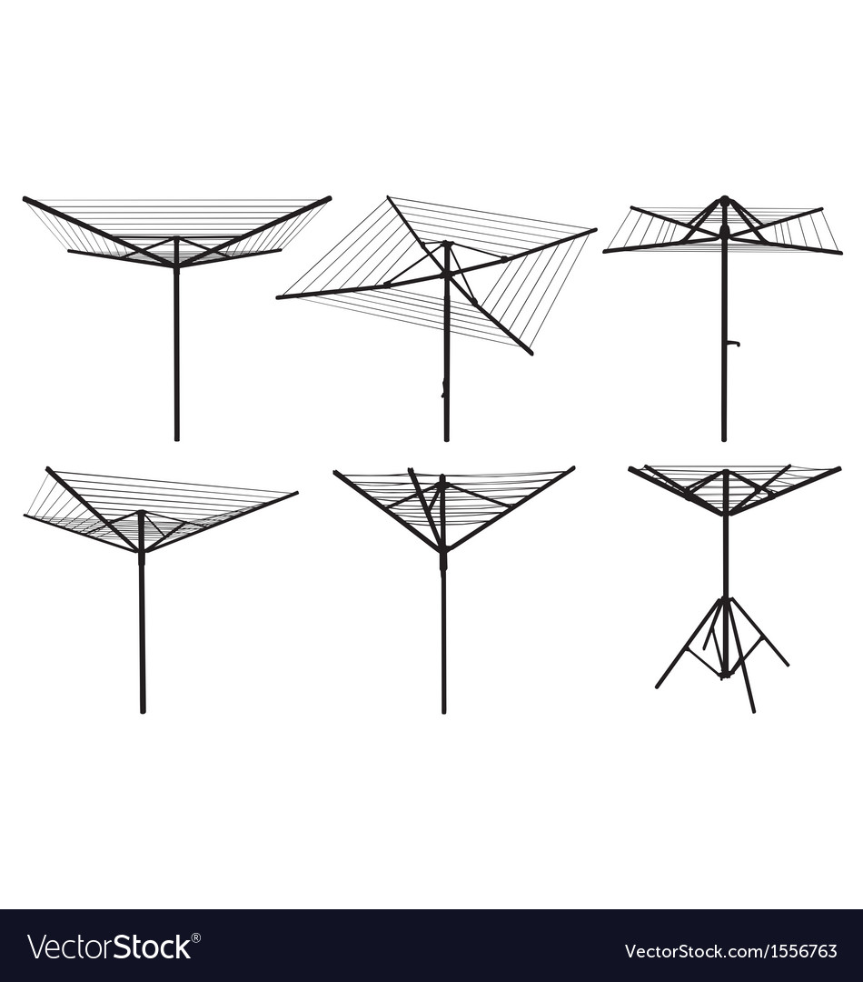 Rotary washing line silhouettes vector image