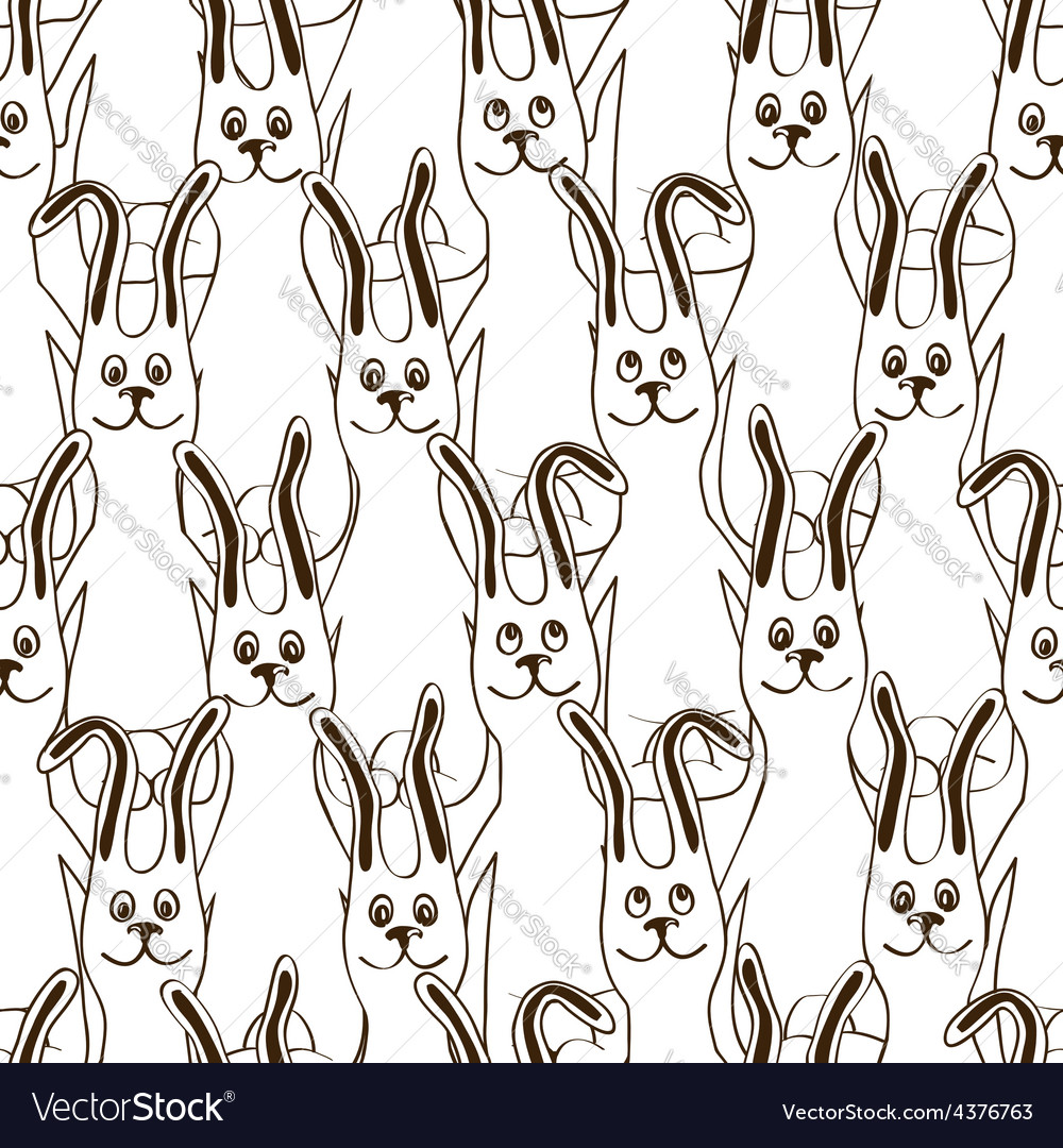 Seamless pattern of funny bunnies