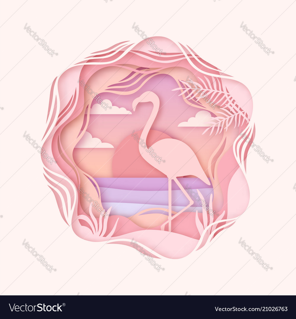 Silhouette of flamingo in origami style paper cut