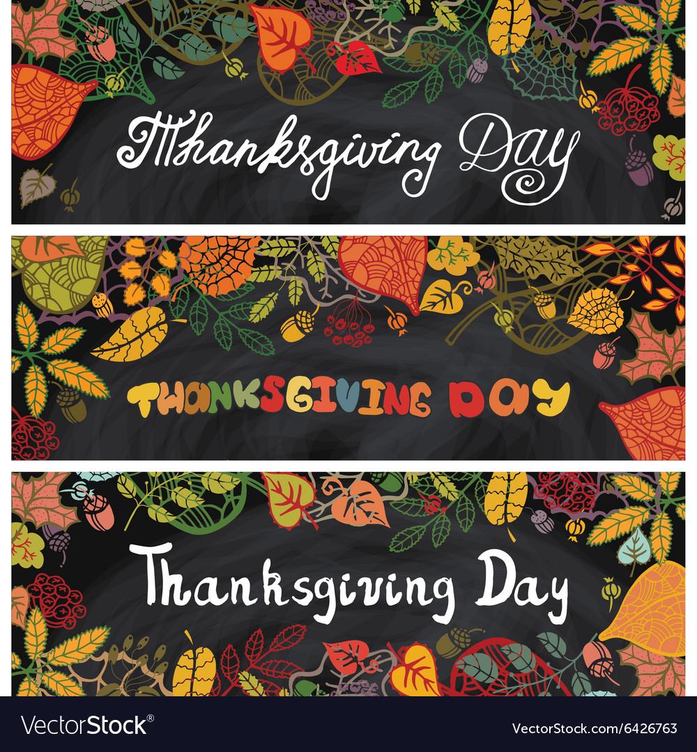 Thanksgiving day bannersAutumn leavesChalkboard