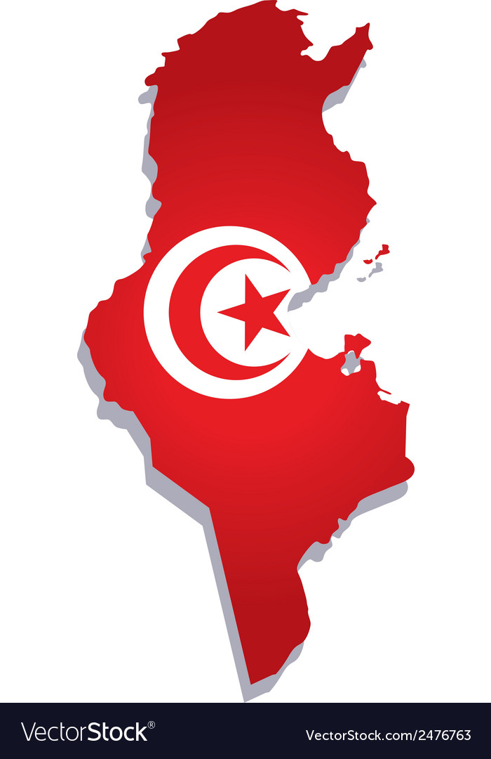Tunisia africa map flag Royalty Free Vector Image