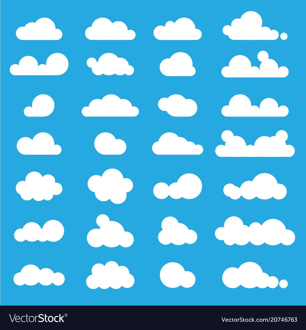 White clouds icon set on blue background