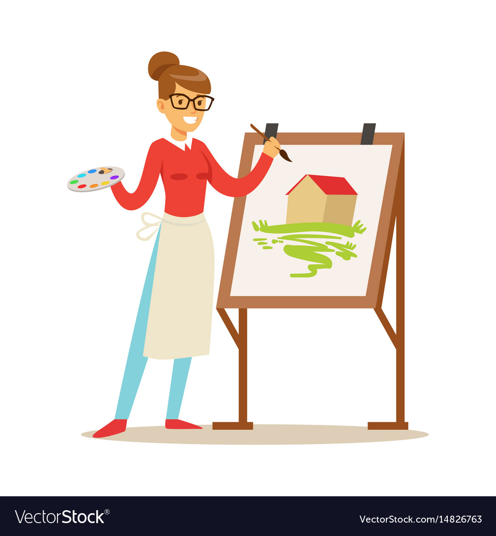 Woman artist holding palette and brush standing