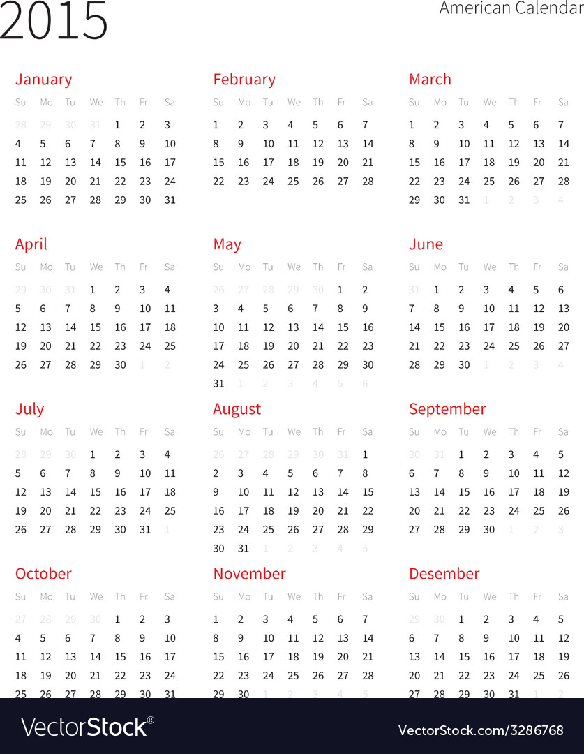 american calendar 2015 year week starts from vector image
