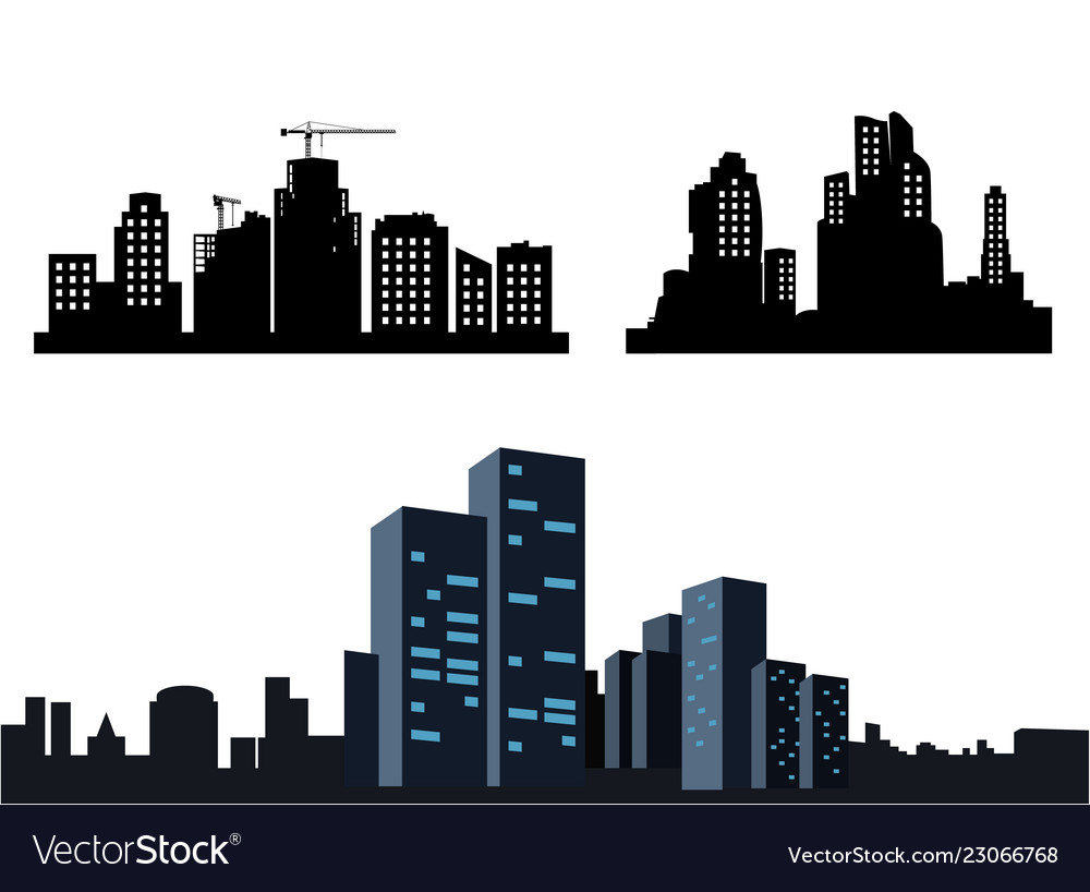 Black city icons on white background collection