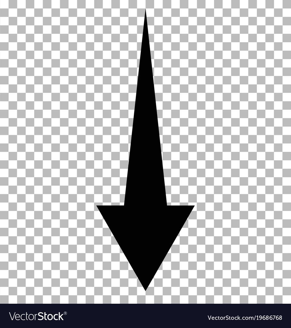 Black down arrow on tramsparent down arrow