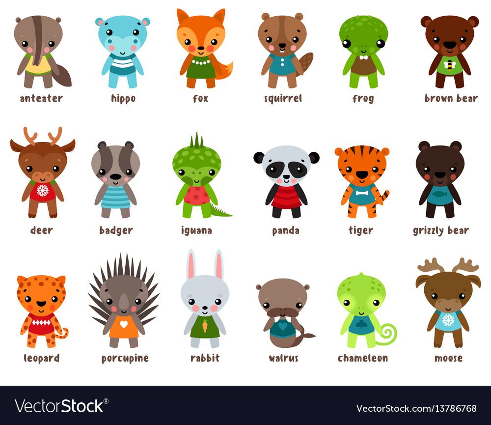 Chameleon and moose leopard cartoon baby animals