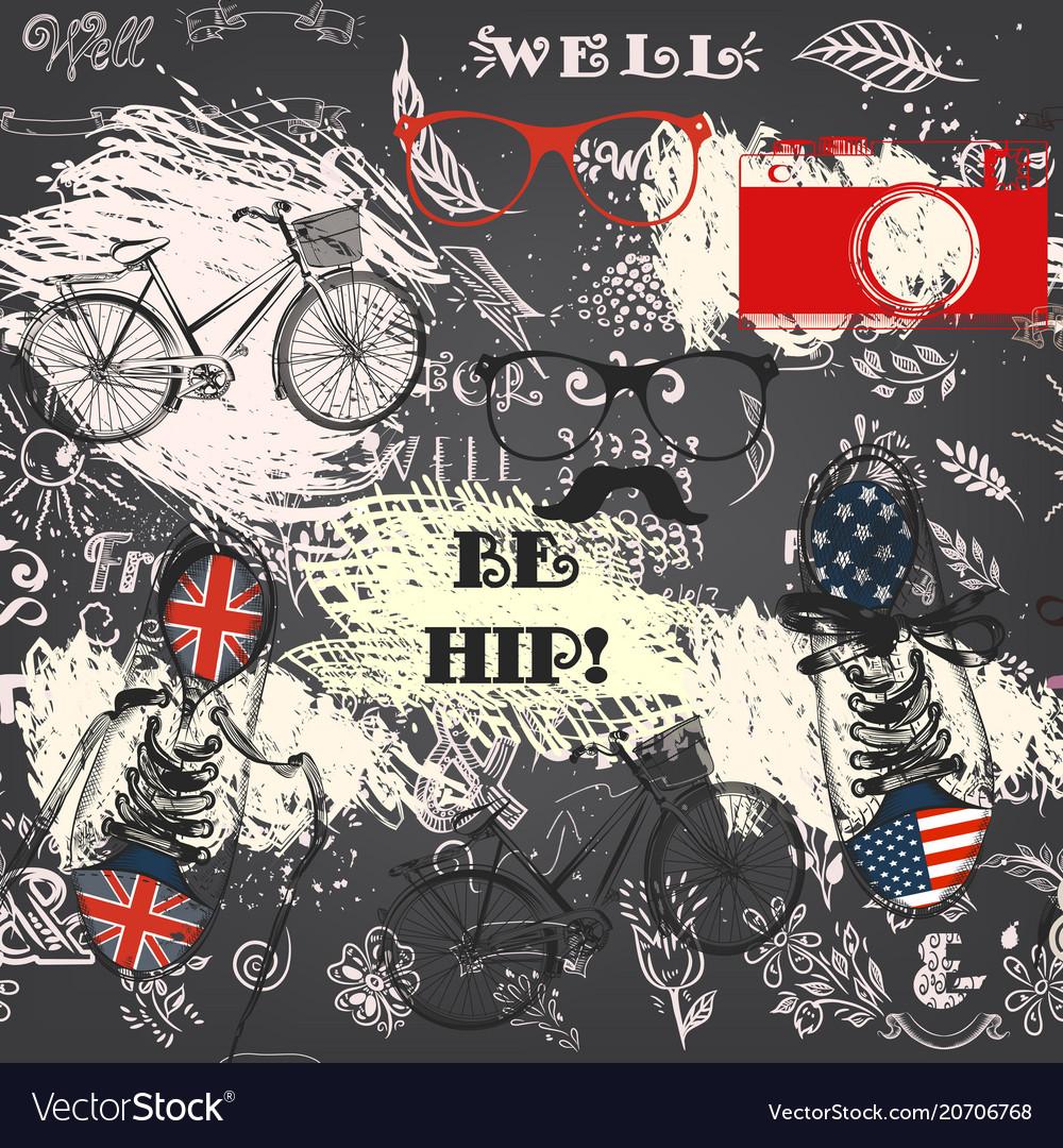 Creative hipster seamless wallpaper pattern