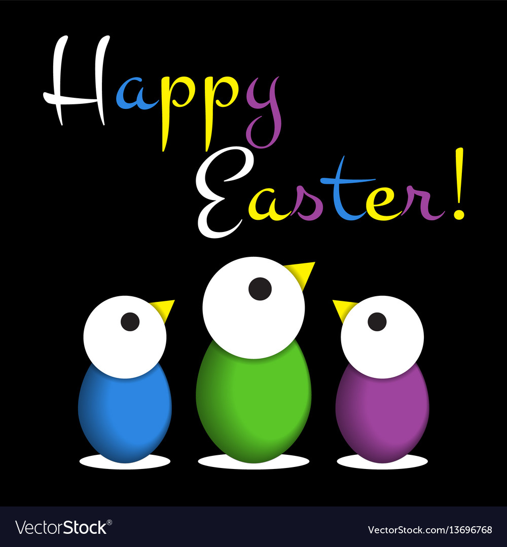 Easter greeting card - colored chicken eggs text