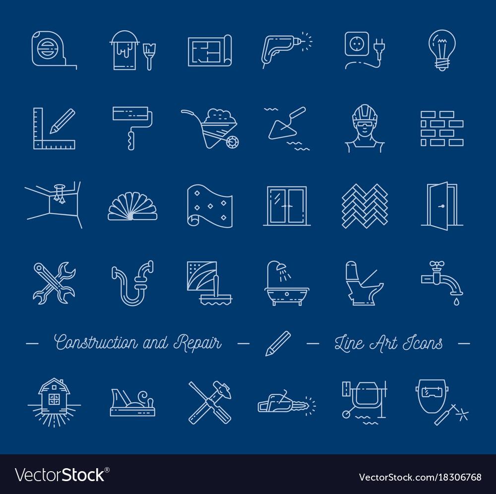 Icons Repair Building Construction Symbols Home Vector Image