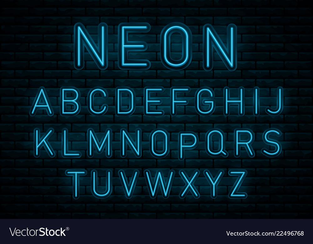 Neon blue font