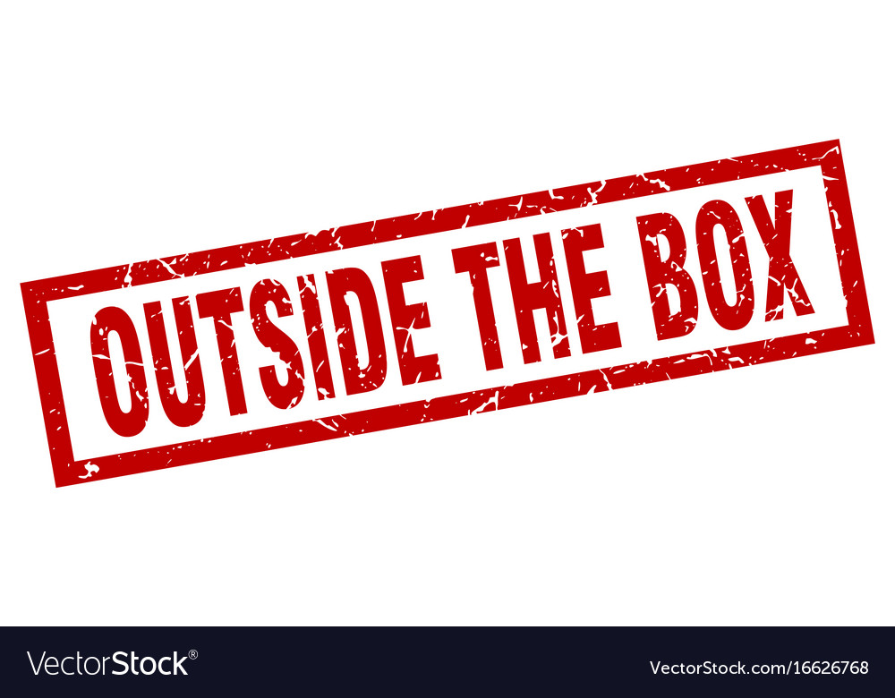 Square Grunge Red Outside The Box Stamp Vector Image