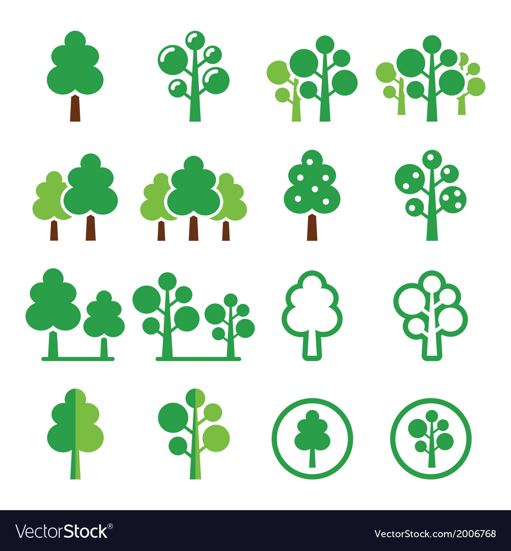 Trees forest park green icons set