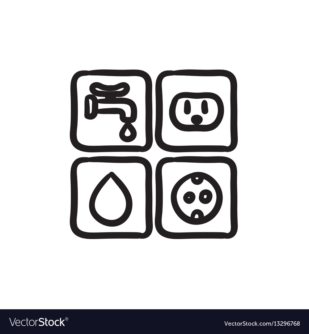 Utilities signs electricity and water sketch icon Vector Image
