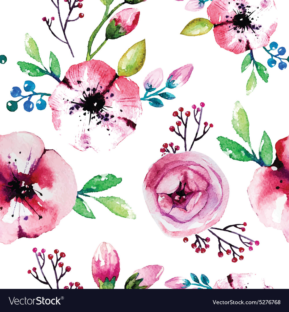Watercolor painting with Rose flowers Seamless vector image