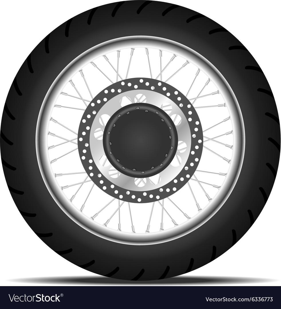 Black motorbike wheel vector image