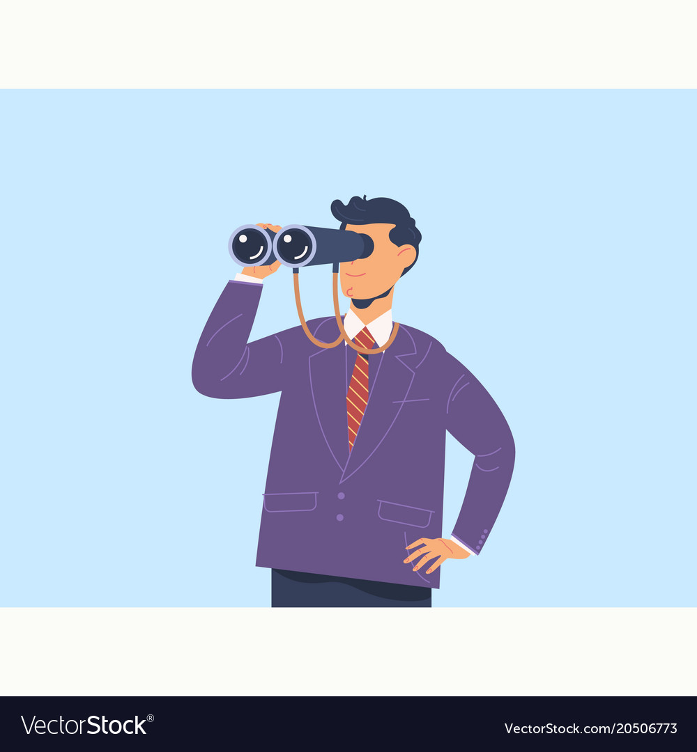 Businessman with binoculars search conceptflat