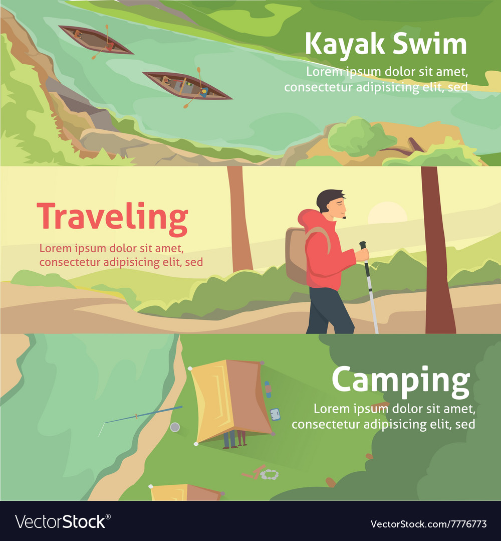 Colourful camping flat banner set for your