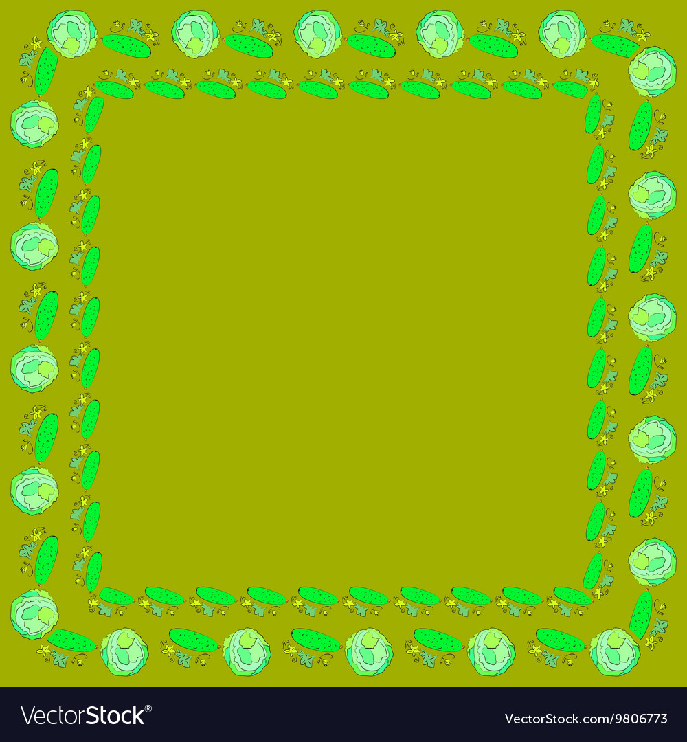 Frames of cabbage and cucumbers