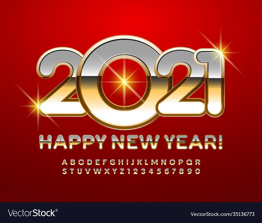 Happy new year 2021 greeting card metal alphabet