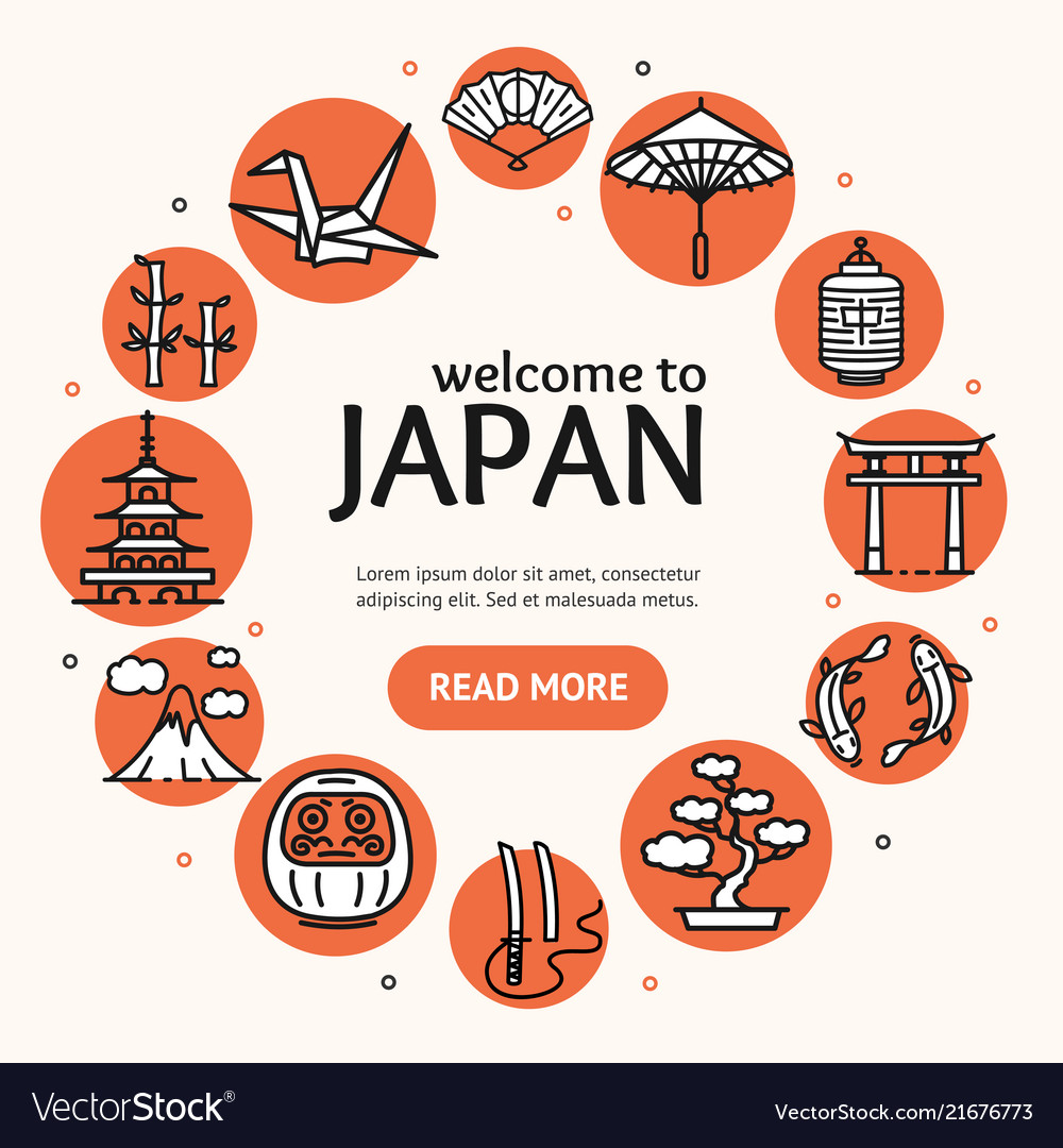Japan travel and tourism concept card round design