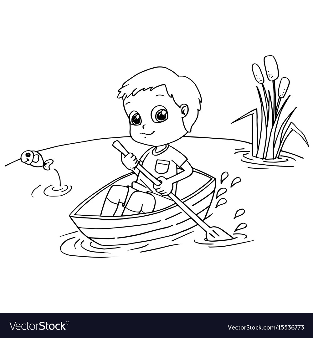 Little boy rowing a boat coloring page Royalty Free Vector