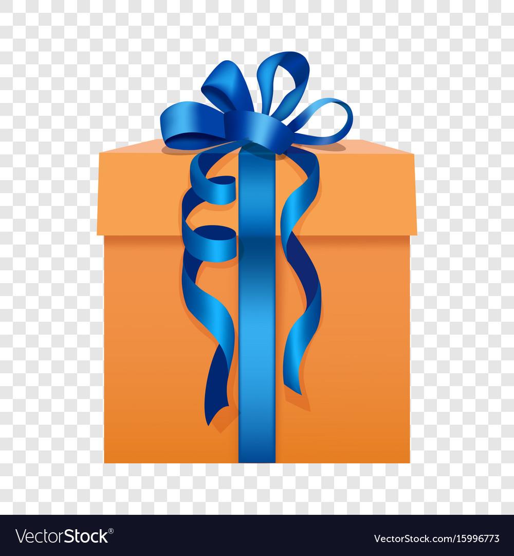 Orange Gift Box With A Blue Ribbon Icon Flat Style