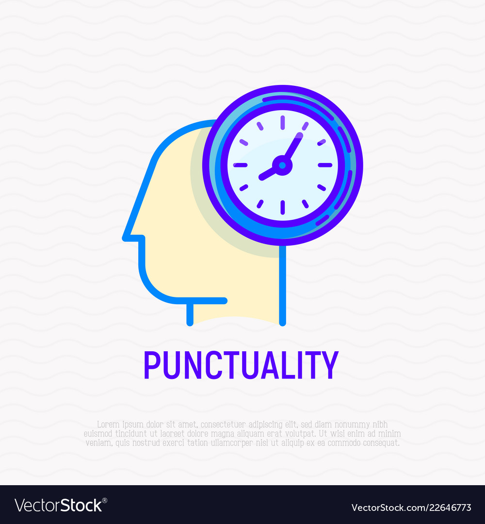 Punctuality time management thin line icon