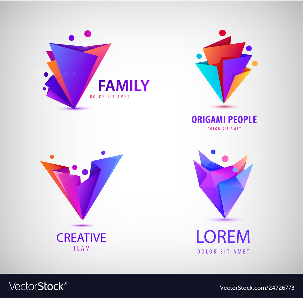 Set of origami 3d men men logos family