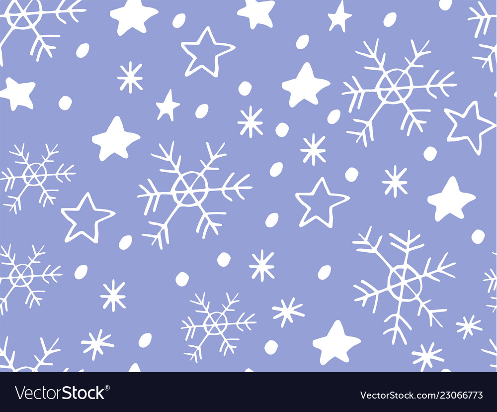 Snowflake simple seamless pattern