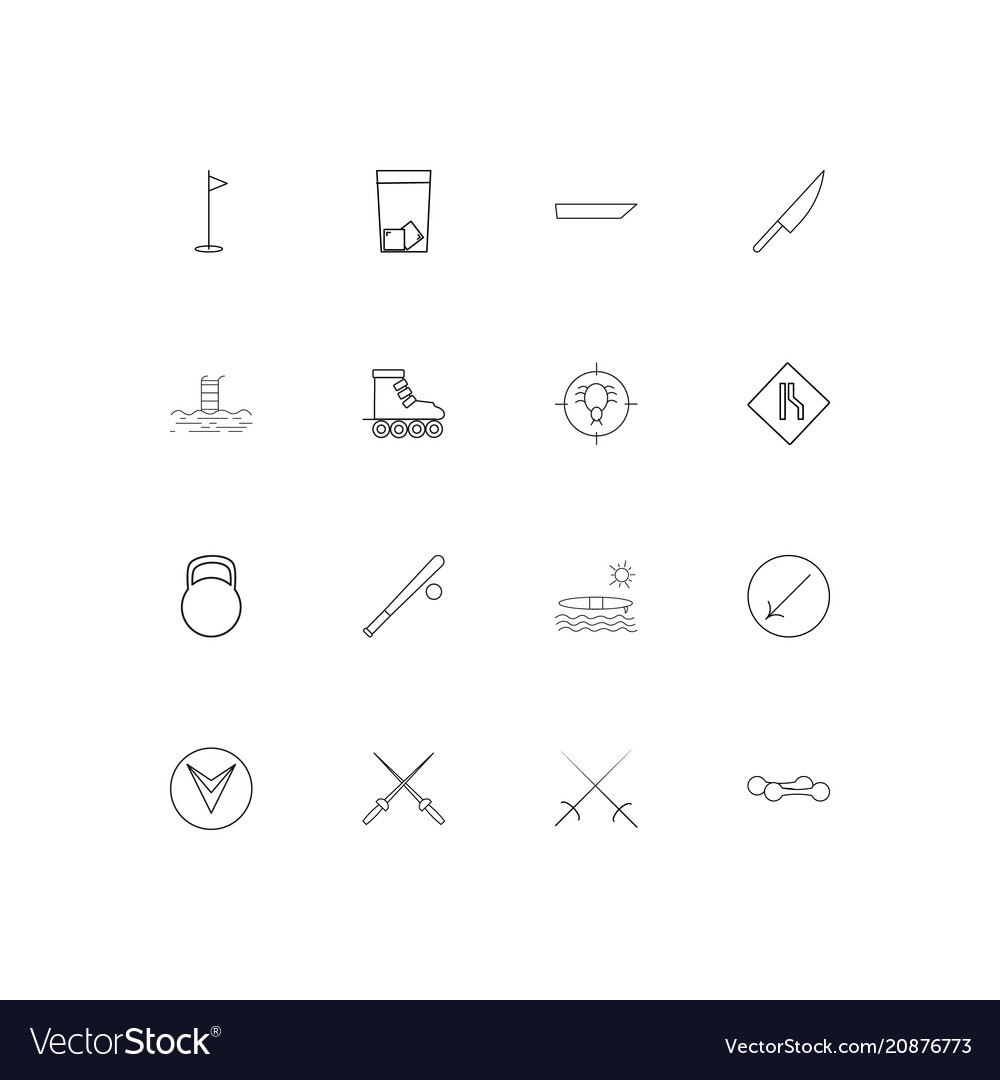 Sport fitness and recreation linear thin icons