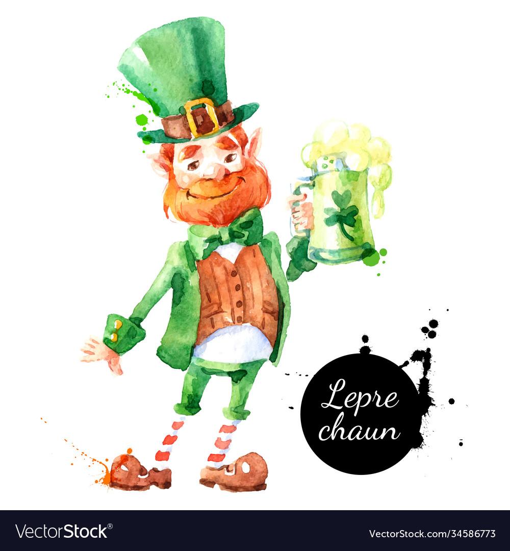 Watercolor hand drawn leprechaun character