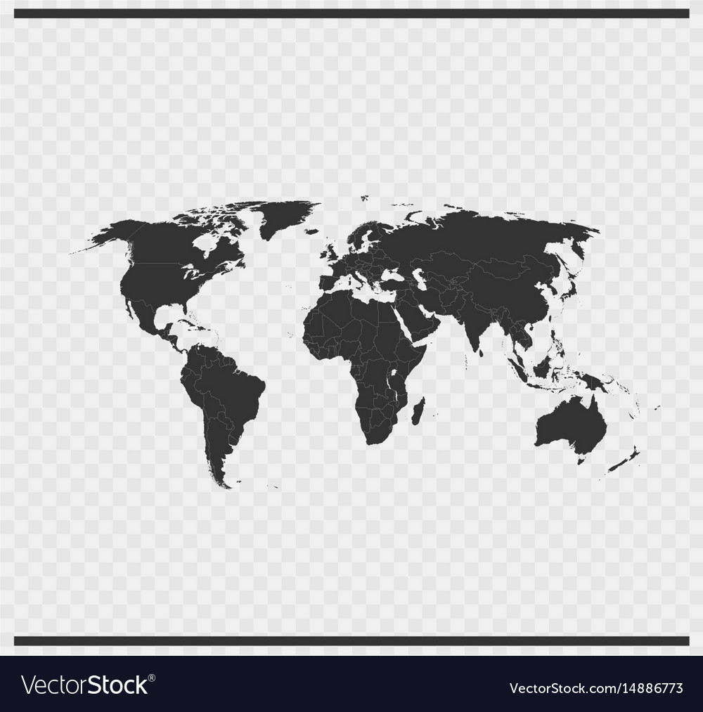 World icon black color on transparent vector image