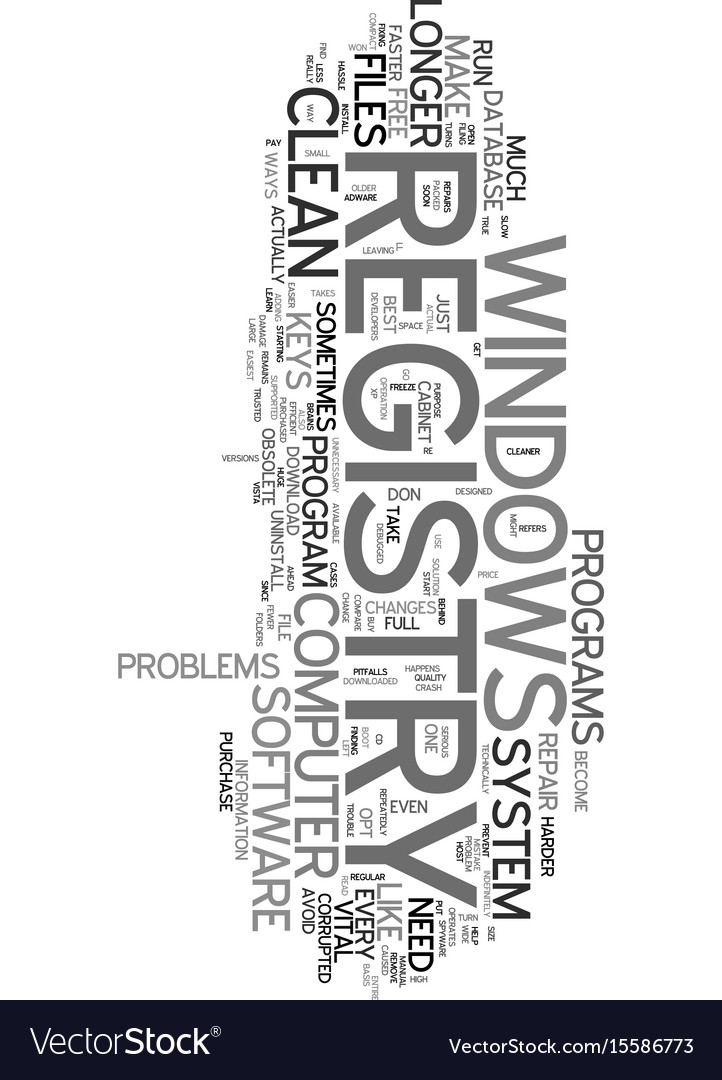You need a clean windows registry text word cloud vector image