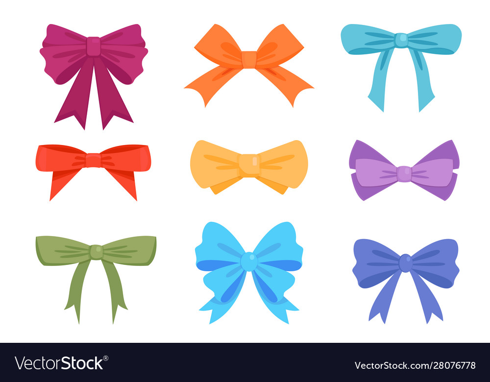 Colorful gift bows and ribbons flat