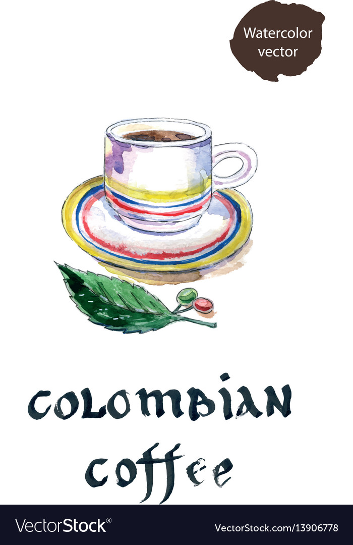 Cup of colombian coffee with coffee beans and leaf