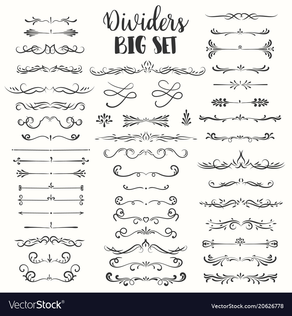 Decorative flourishes hand drawn dividers