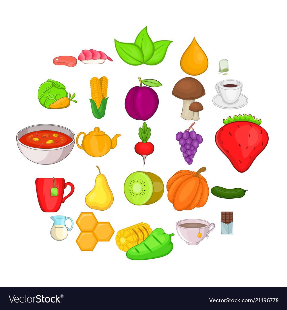 Dietetic icons set cartoon style