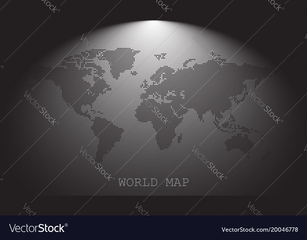 Dotted blank black world map isolated on grey