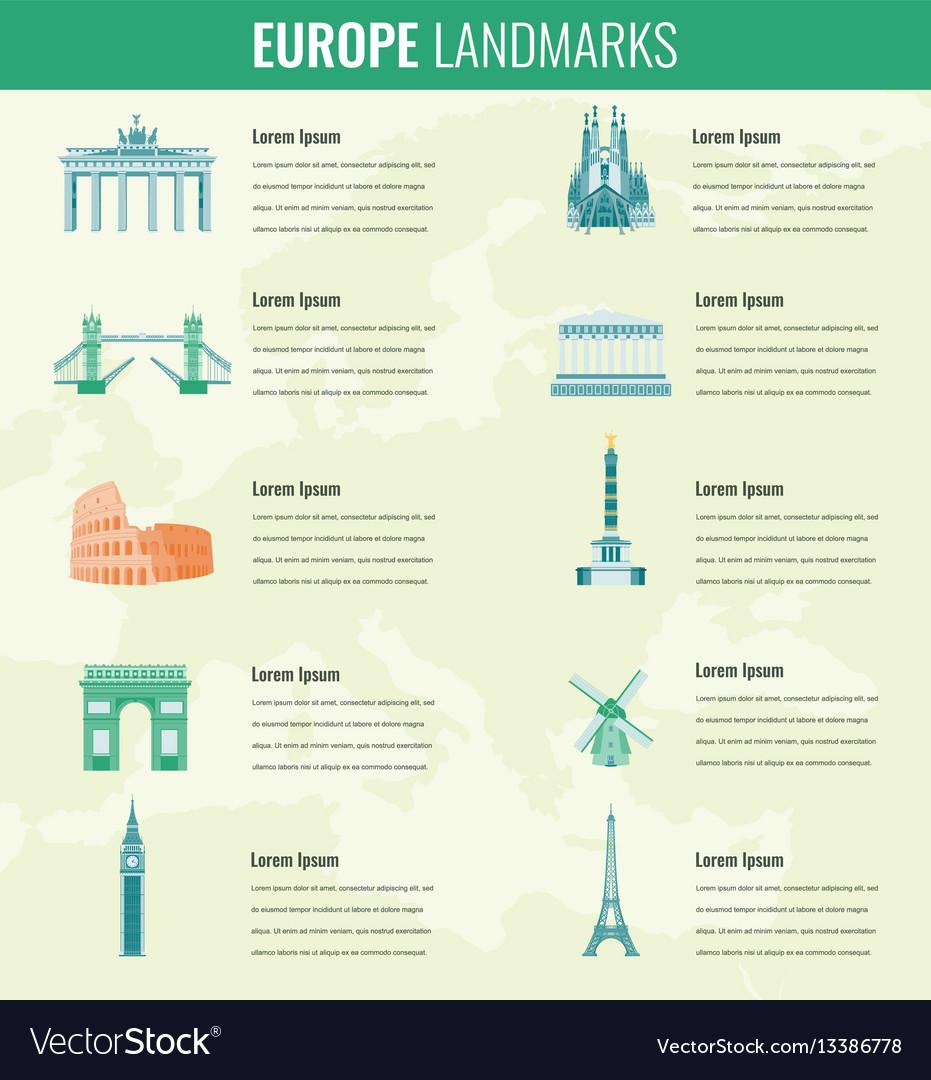 Europe landmarks infographics set travel and