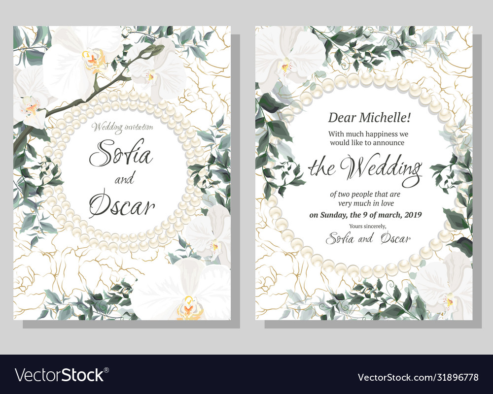 Floral template for wedding invitations orchid