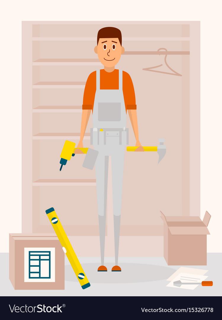 Furniture assembly service man cartoon vector image
