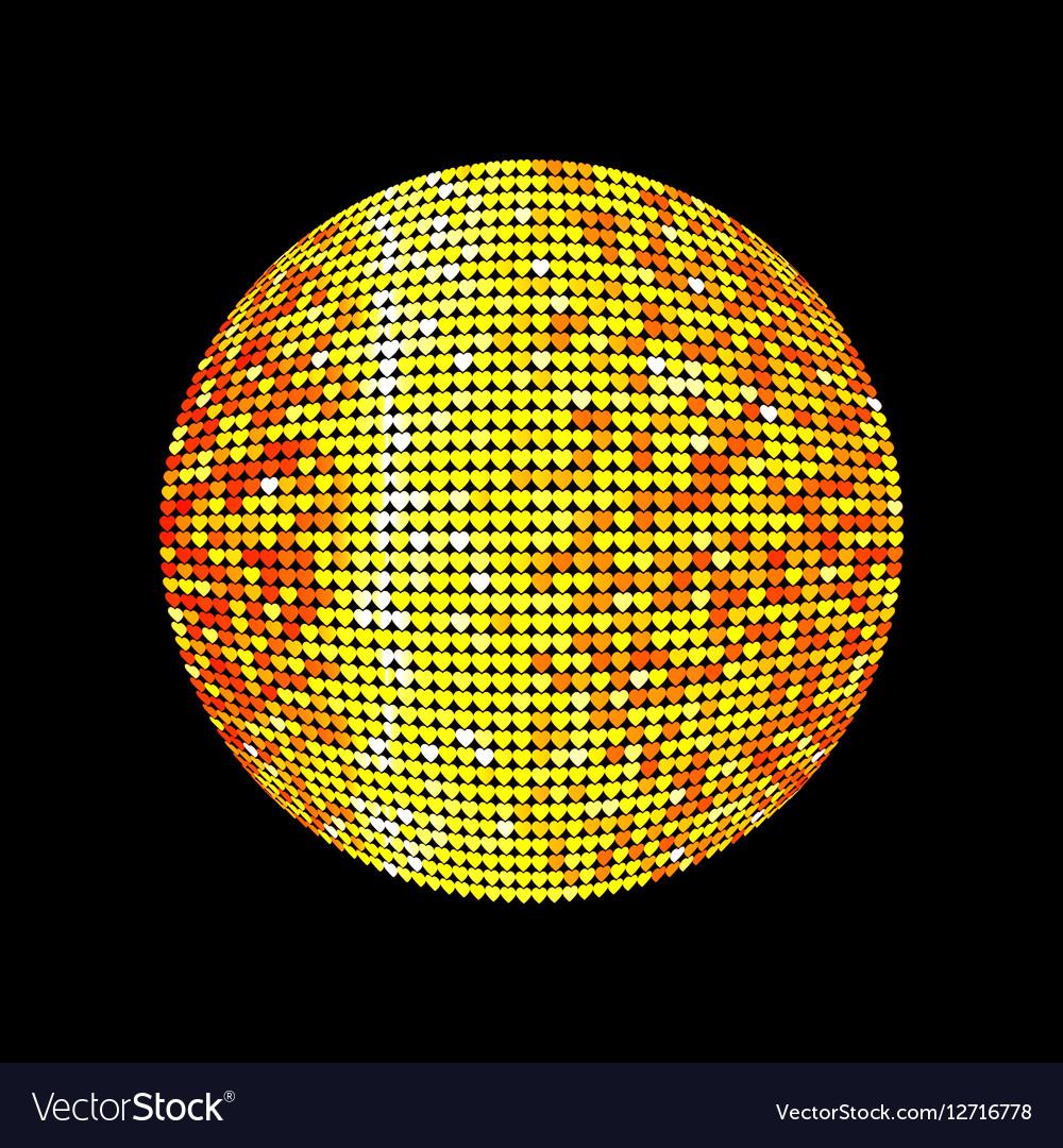 Golden disco ball Shiny illuminated disco ball on