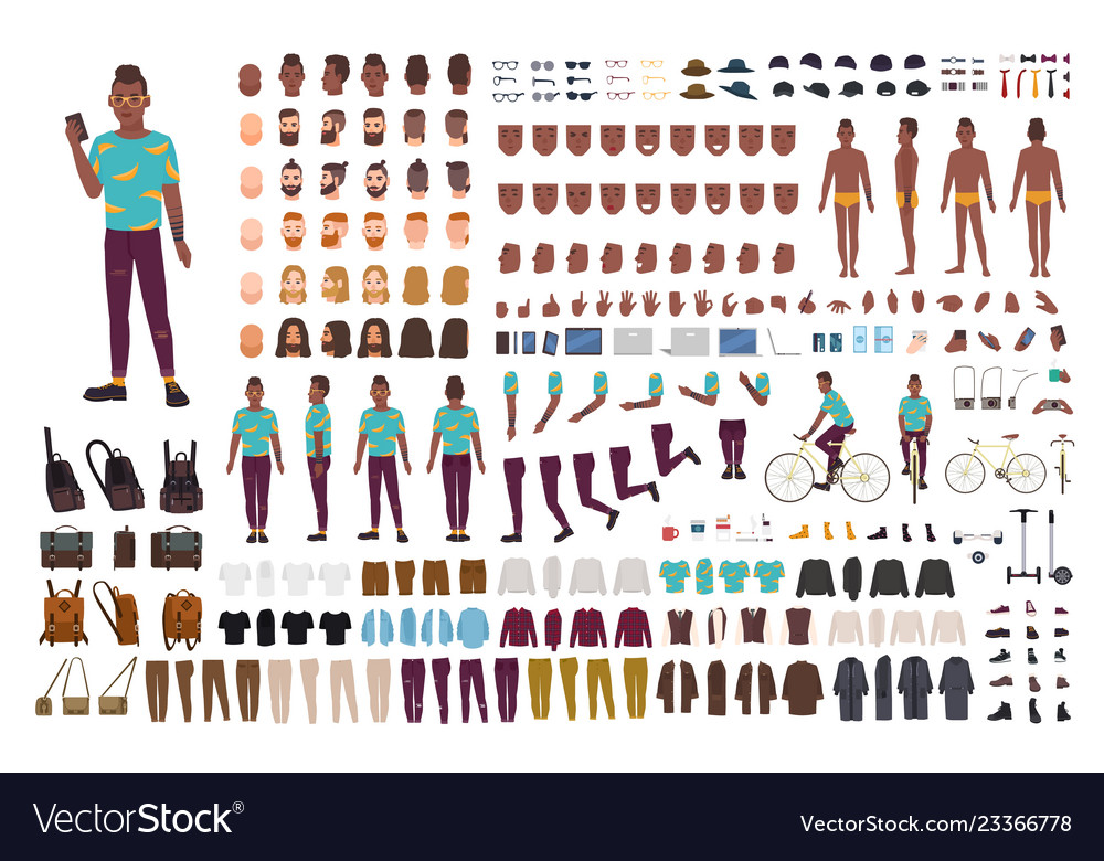 Hipster guy animation kit african american man